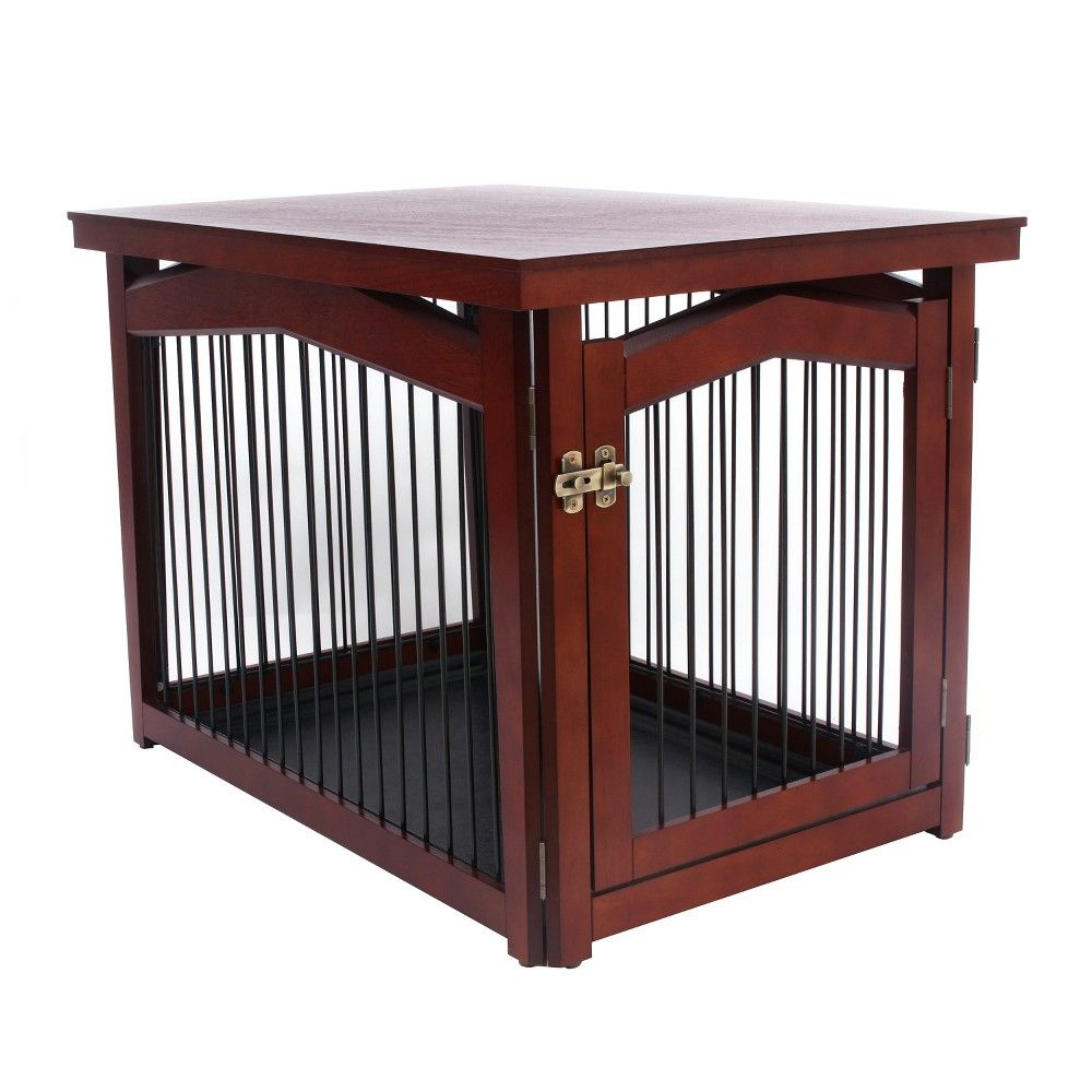 Merry Products 2 in 1 configurable Pet Crate and Gate - Large, Brown