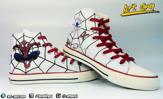 2d96375edd6b spiderman superhero hand painted shoes converse Custom one of a kind canvas  art guy