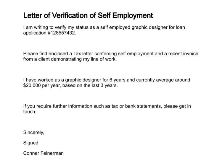 SelfEmployment Verification Letter Sample Online