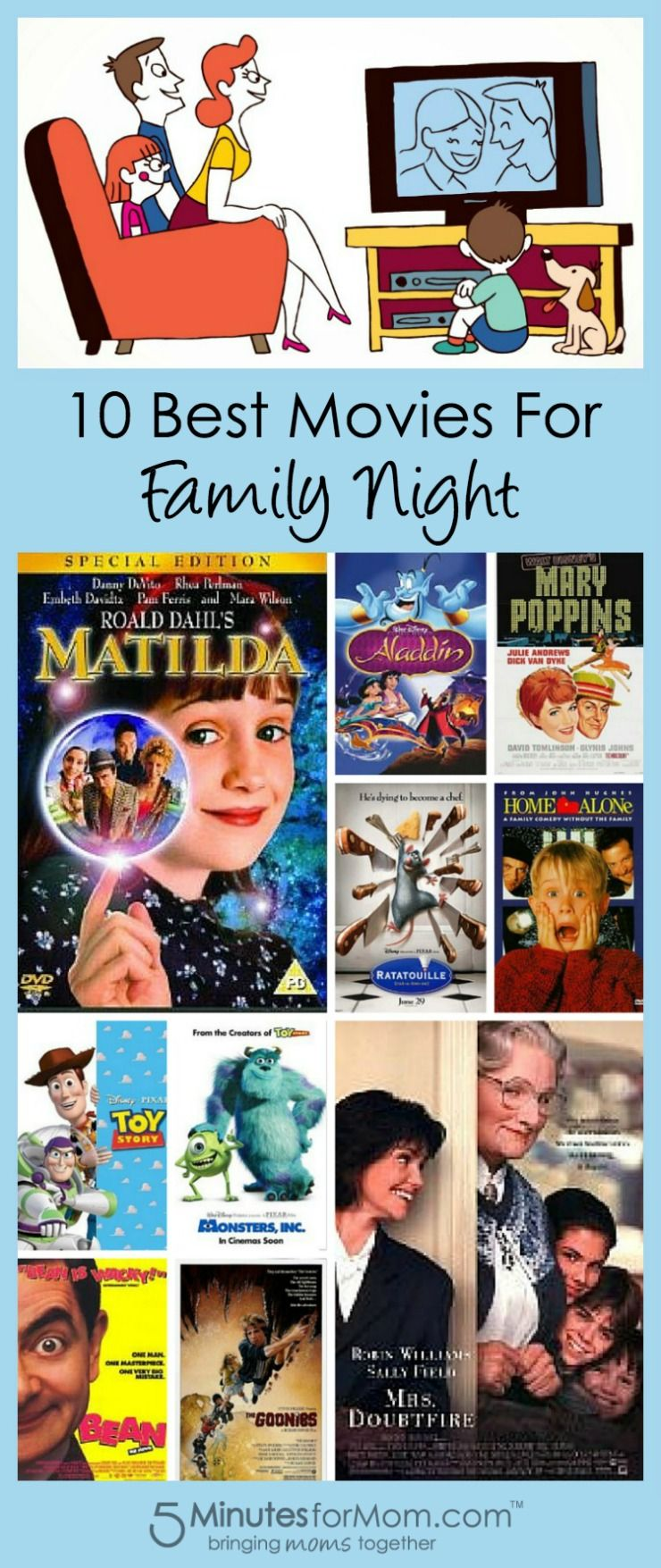 10 Best Movies For Family Nights 5 Minutes For Mom Family Movie Night Good Movies Family Night
