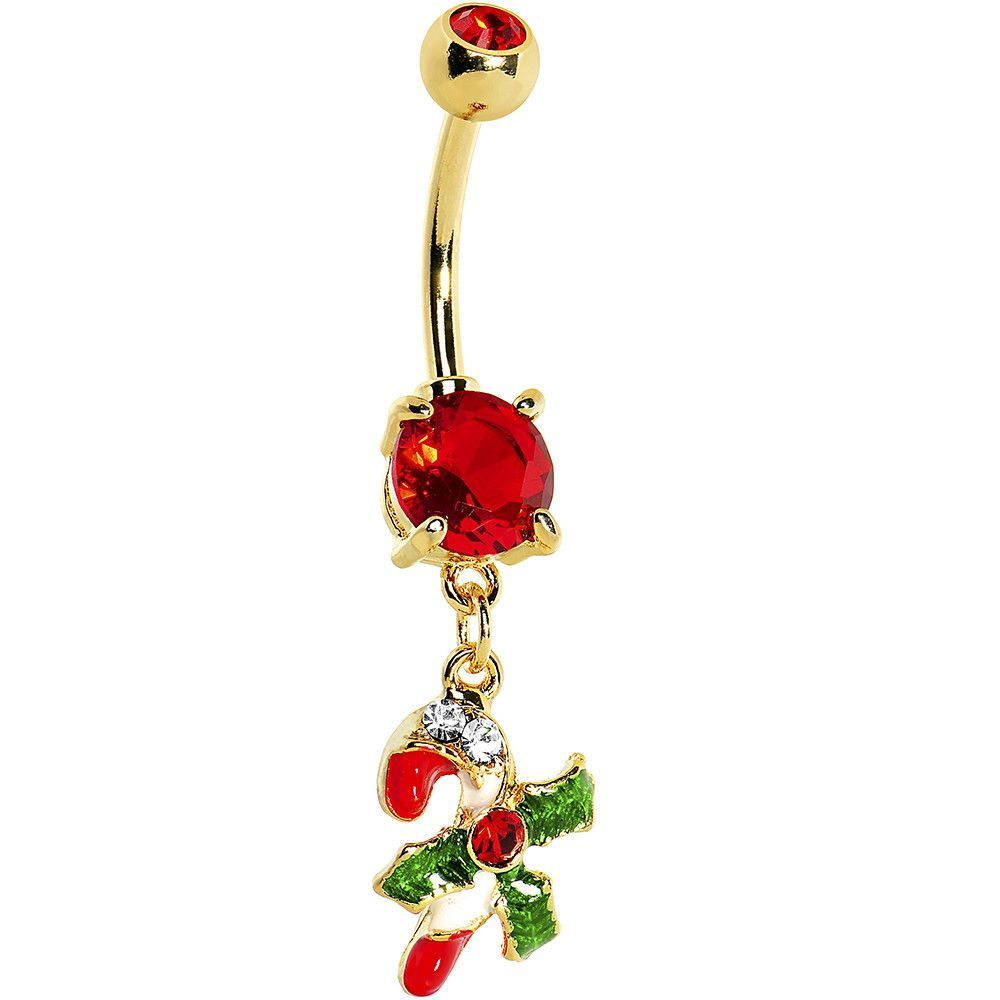 Fake belly piercing  Gold Plated Holiday Candy Cane Belly Ring  Holiday candy Candy
