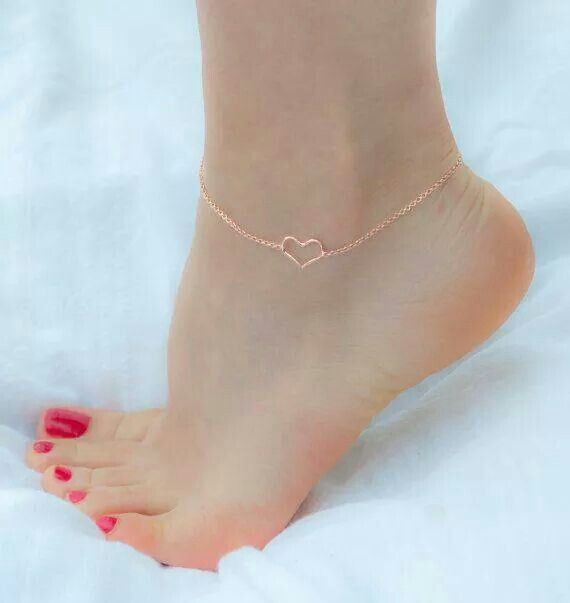 Rose gold heart anklet Jewelry Accessories Pinterest Anklet