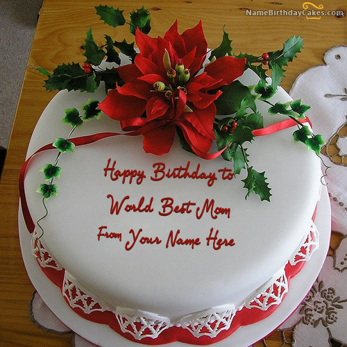 Write name on Flower Birthday Cake For Mother Happy Birthday