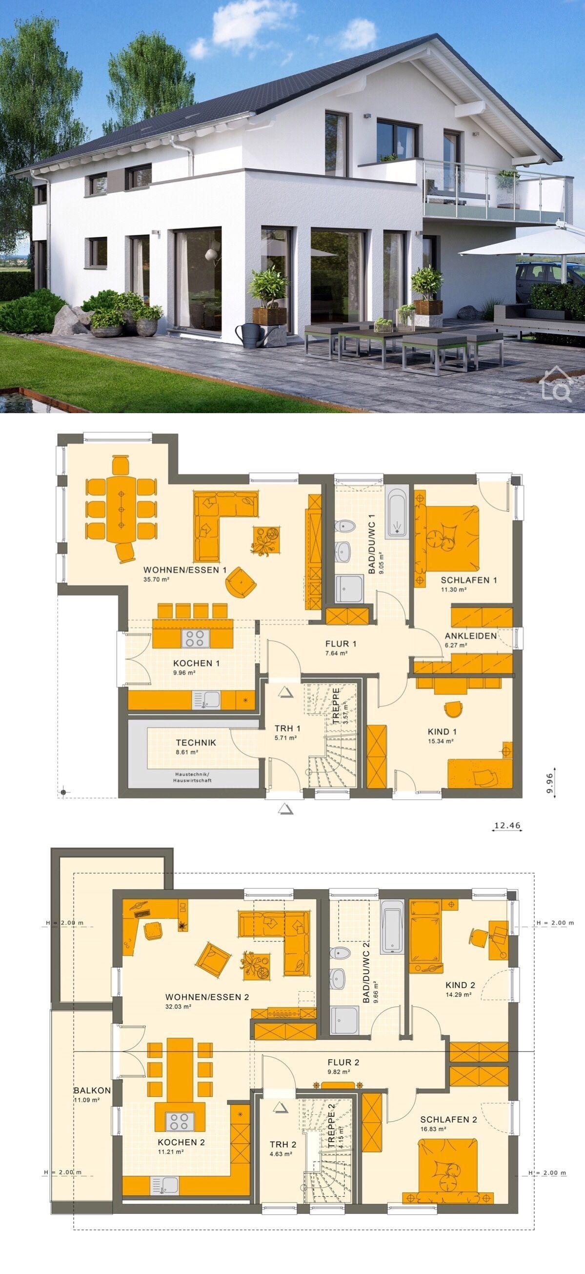 Modernes Zweifamilienhaus SOLUTION 204 V5
