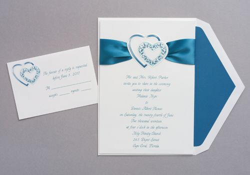 wedding invitations feature a pair of peacock-colored hearts, Wedding invitations
