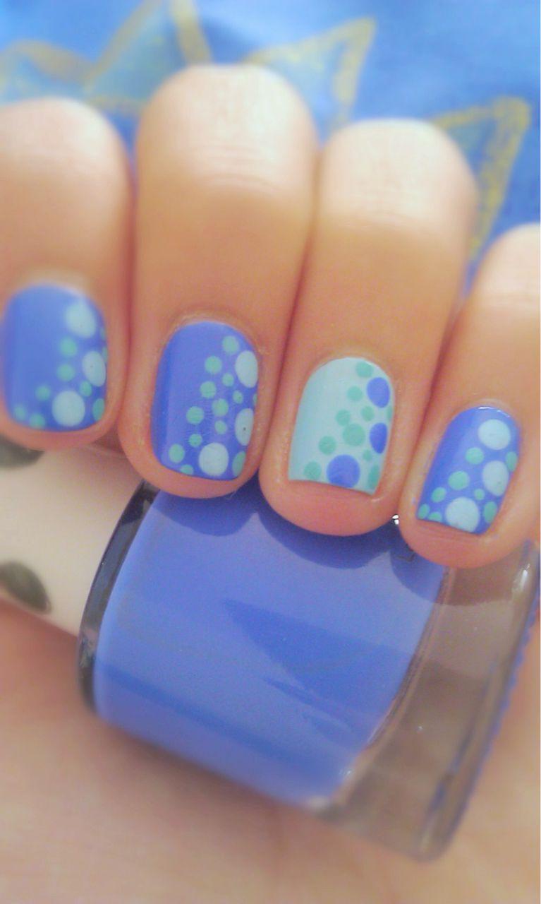 Periwinkle Seafoam Green Light Blue Nails Dots Nails Gel Nails