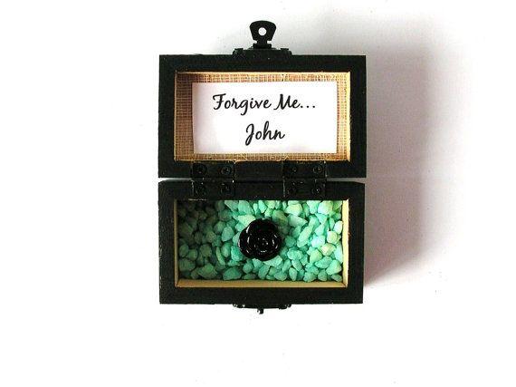 Wood Box Forgive Me Custom Gift Handpainted Trunk by LovingCorner, $22.50  #box #personalized #wood #wooden #woodbox #woodenbox #woodworking #lovebox #customgift #custom #gift #black #aqua #forgiveme #wedding #favor #mini #minigiftbox #giftbox #ringbox #ring #engagement #weddingfavors #trunk #woodtrunk #woodchest #chest #smallbox #small #cheap #cheapbox #jewelrybox #