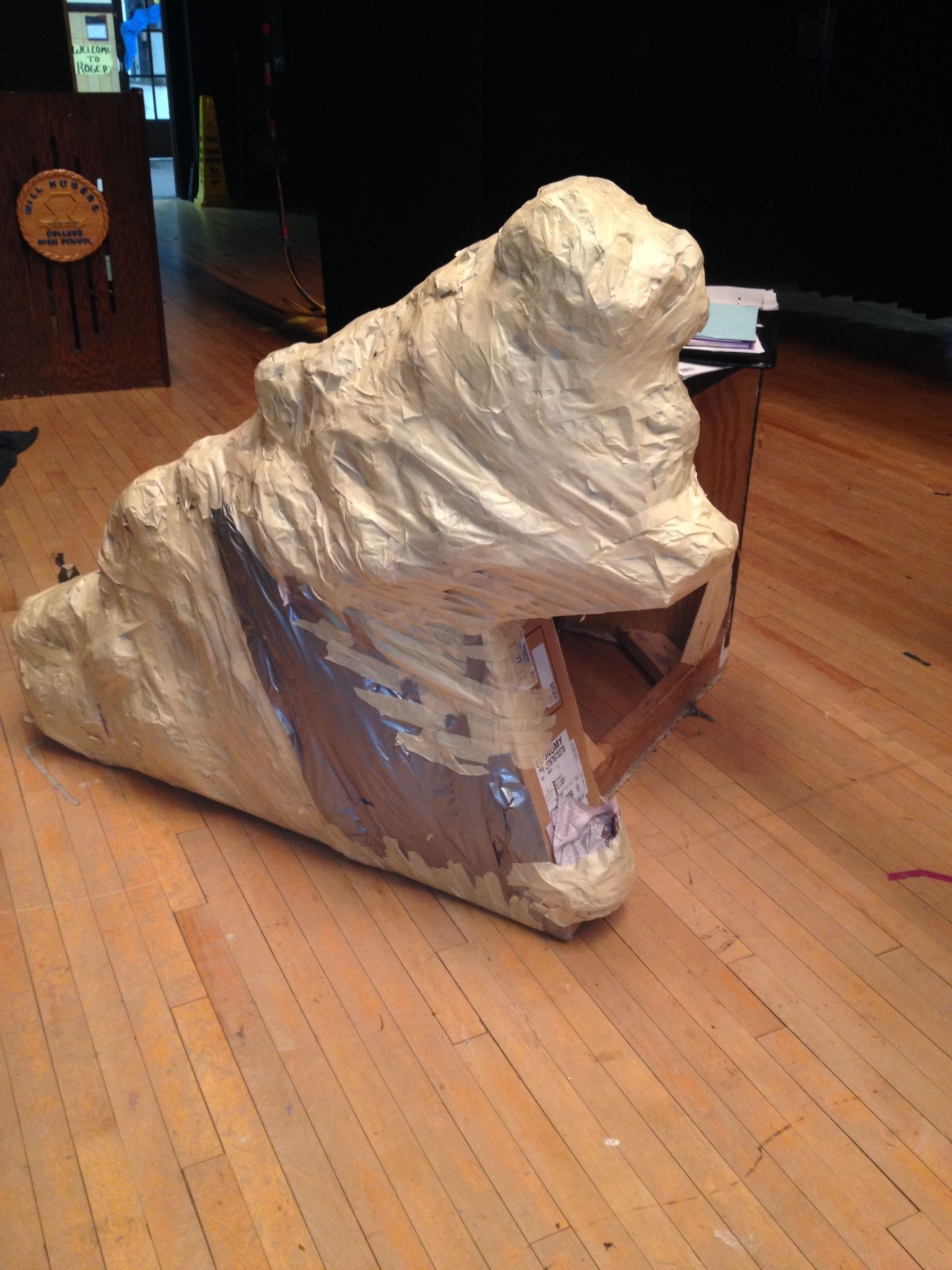 Lion King Riser Boulder Cover Ups I Used Boxes Stacked Them On Top Of Each Other Taped Lots Of Newspaper To Get The Bumpy Look I Wanted Filled In The G