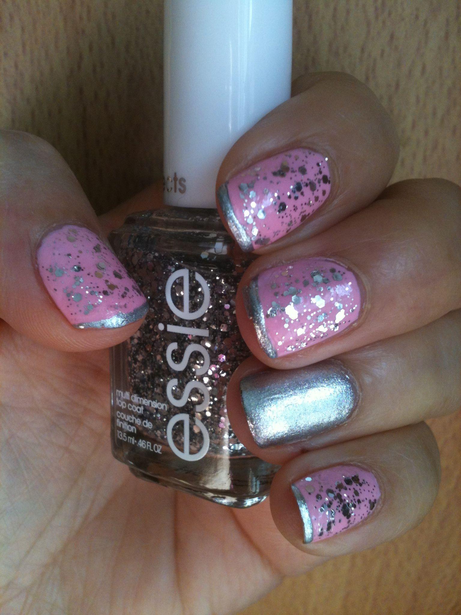 Pink and silver nails - Pink N Silver Nails