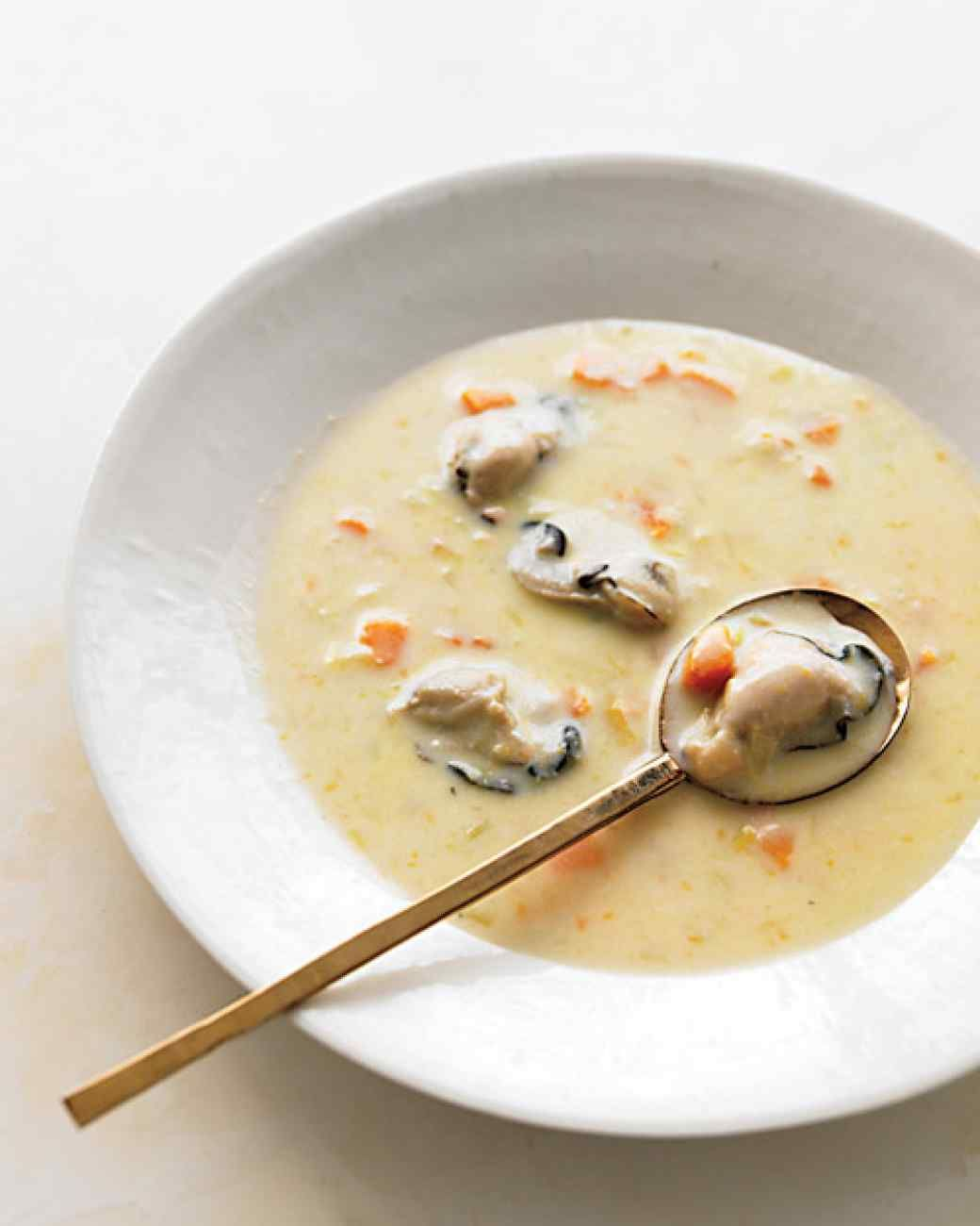 Oyster Stew with Sweet Potato and Leeks