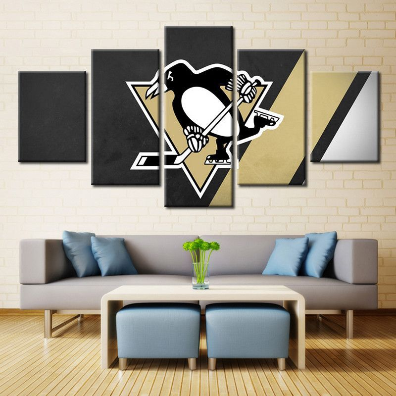 5 Panel Pittsburgh Penguins Hockey Framed Canvas Print Wall Art