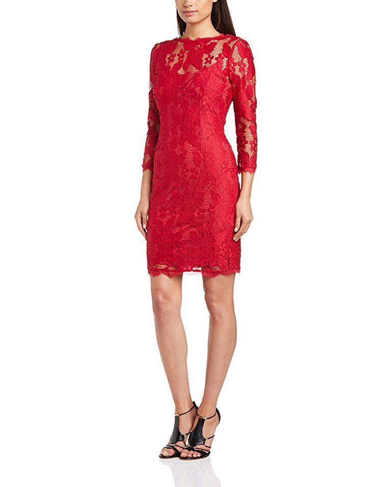 NWT Adrianna Papell Size US 12 Ruby Red Lace Cocktail ...