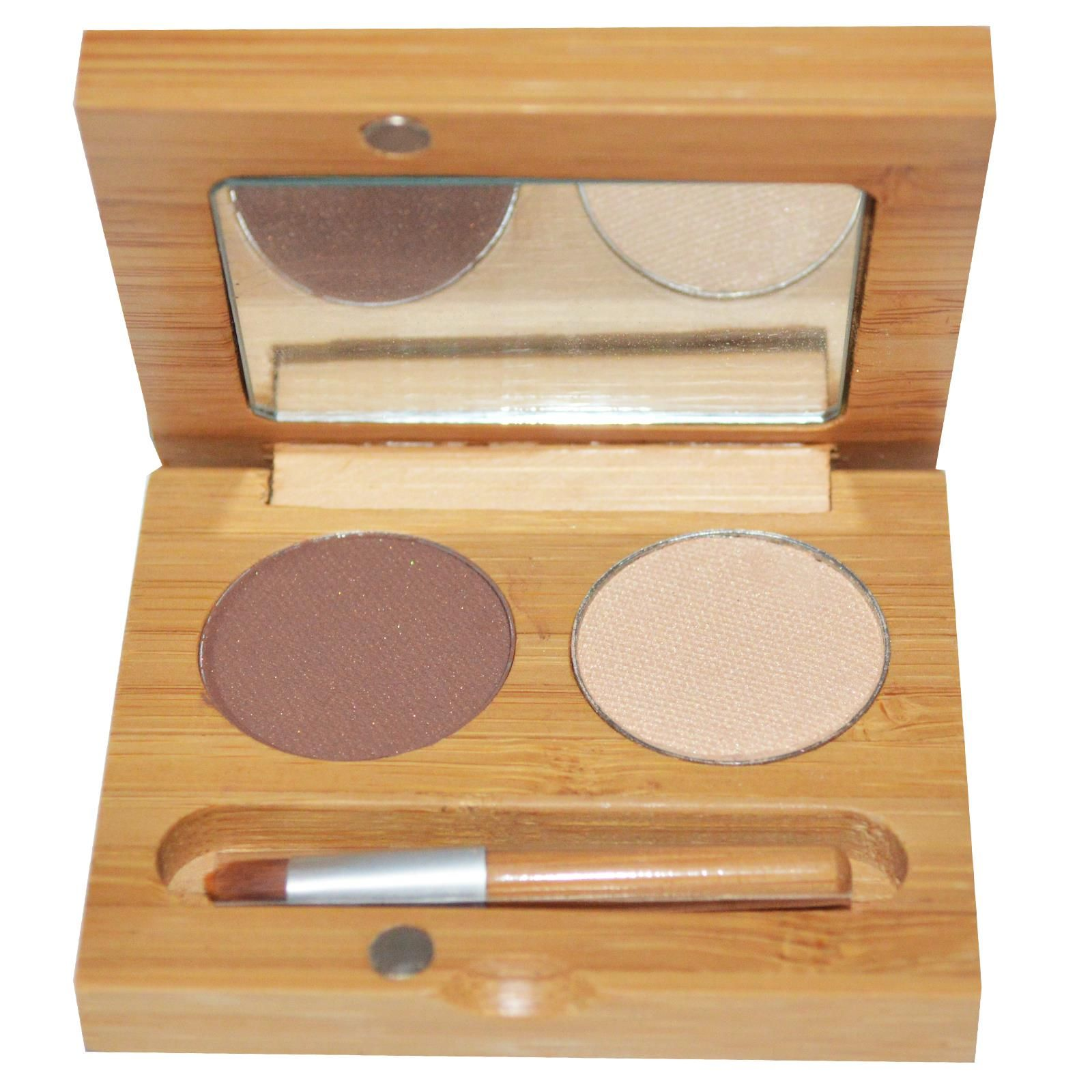 Suncoat, Duo Mineral Eye Shadow With Organic Bamboo Silk, Coffee