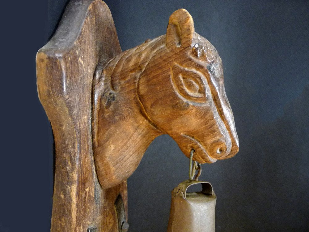 Cloche t te de cheval clochette murale de porte d 39 entr e sonnette suspendre art populaire for Cloche de porte d entree