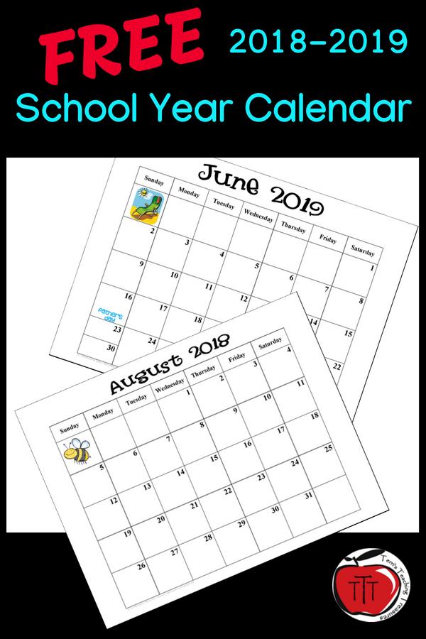 Free 2018 2019 School Year Calendar School Calendar Teacher Calendar Preschool Calendar