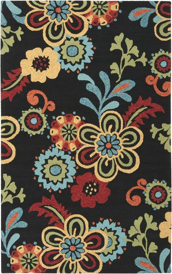 Surya Storm Black Floral Indoor/Outdoor Rug Ships Free. Pet friendly and pet friendly living #petfriendly #petfriendlyliving