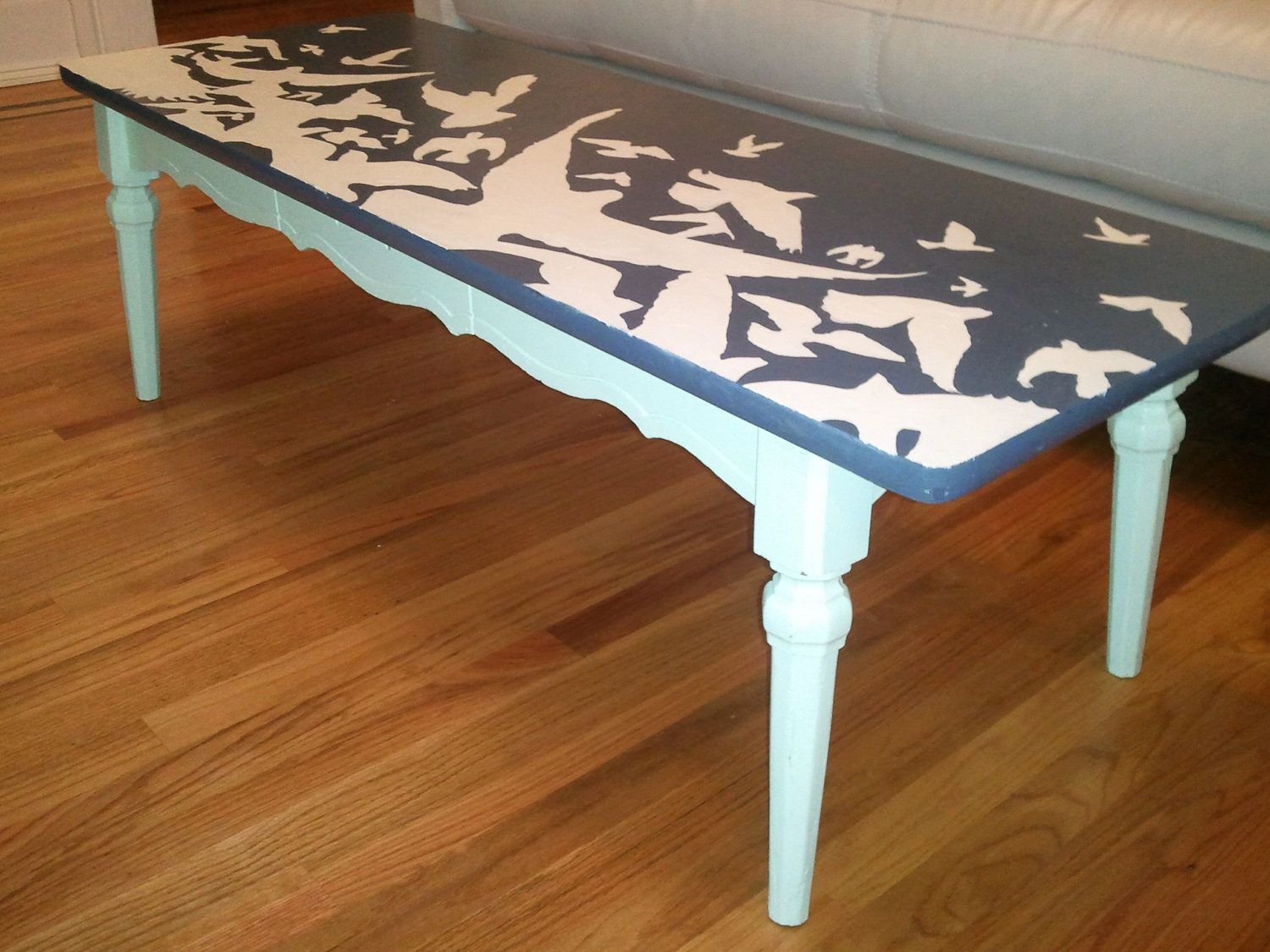 Flock of birds up cycled hand painted furnitureffee table flock of birds up cycled hand painted furnitureffee table geotapseo Image collections