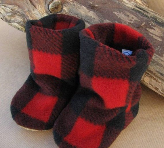 flannel baby booties.
