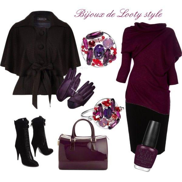 """Black & violine elegance"" by bijouxdelooty on Polyvore"