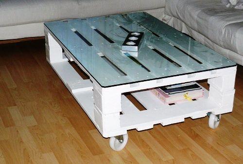 mesa de centro con vidrio con pallets - Mesas De Palet