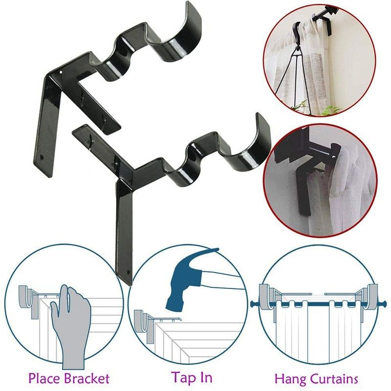Invisible Curtain Rod Holders Sturdy Secure Stylish