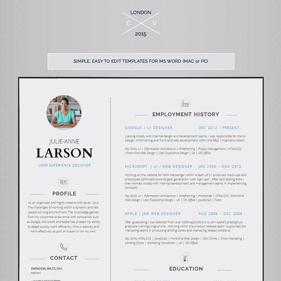Resume Template CV Template Cover Letter Application Resume - application resume template