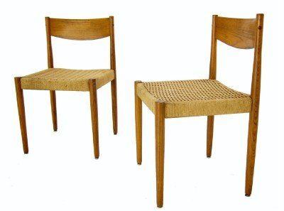 finemod store pair of danish mid century modern rush seat dining chairs wegner design hans wegner