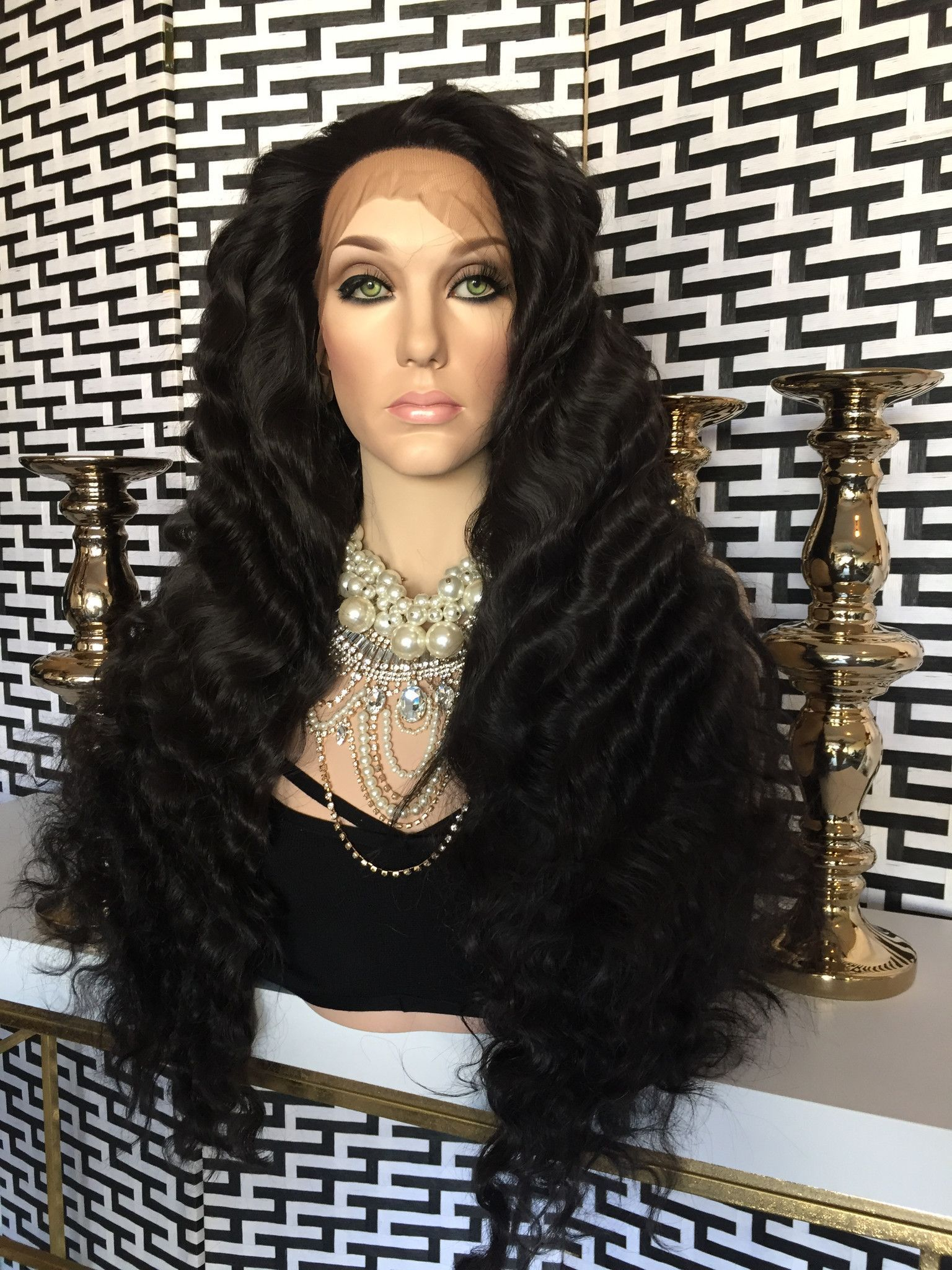 """Black Swiss wavy hair Lace Front Wig 24"""""""