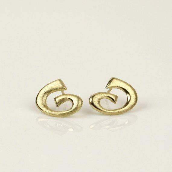 14k Earrings Gold Spiral Earrings Solid Gold Earrings Big Stud