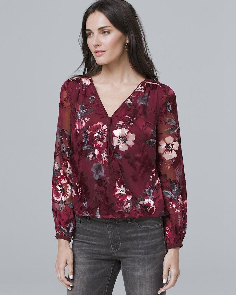 8b630cb3b30593 Women's Floral-Burnout Blouse by White House Black Market | Products ...