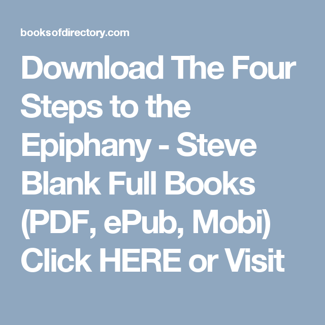 The Four Steps To The Epiphany Ebook