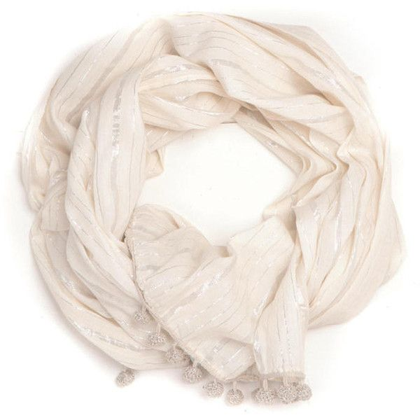 Ananda Design White Crocheted Metallic Pom Poms Wrap Scarf ($110) ❤ liked on Polyvore featuring accessories, scarves, crochet scarves, white crochet shawl, wrap shawl, white shawl and sparkly scarves