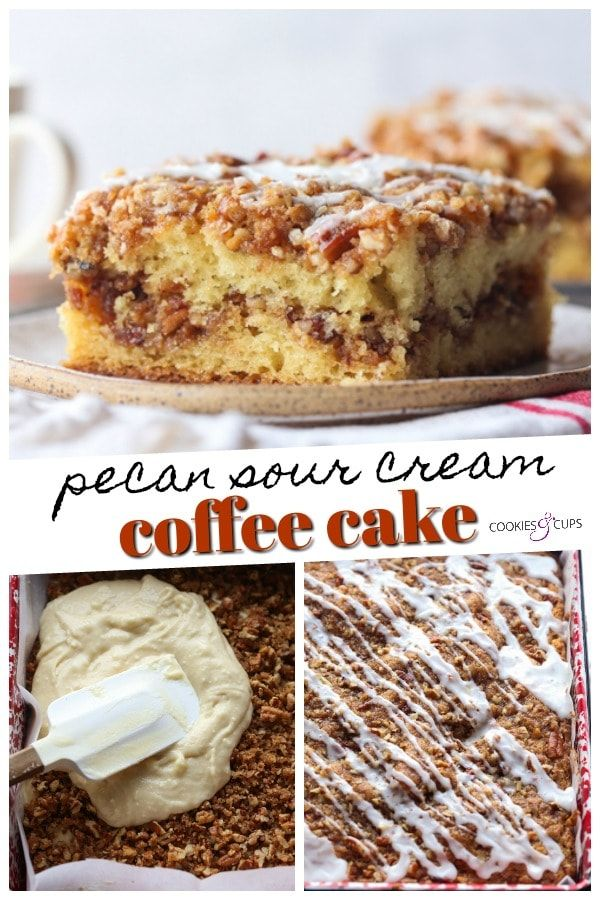 This Pecan Sour Cream Coffee Cake Is An Ultra Moist Cake With A Delicious Cinnamon Pecan Streusel Baked In In 2020 Sour Cream Coffee Cake Coffee Cake Pecan Coffee Cake