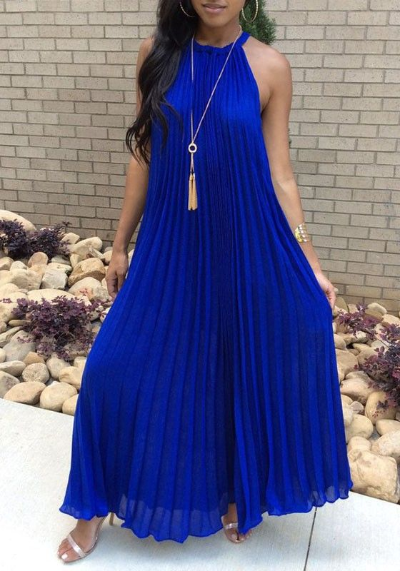 d70cc466030694 Royal Blue Pleated Tie Back Sleeveless Halter Neck A-line Bohemian Maxi  Dress