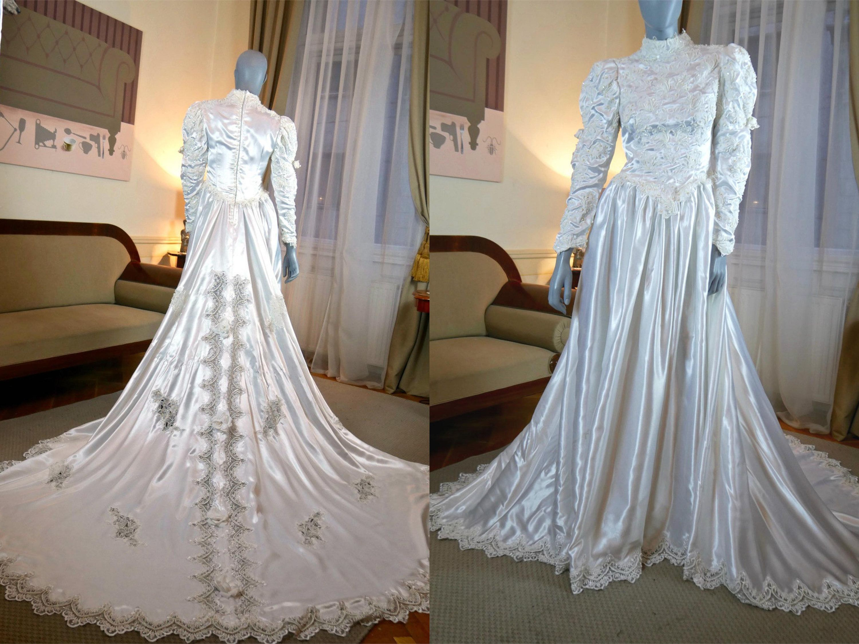 1980s Beaded Wedding Dress, Italian Vintage Art Deco 1920s