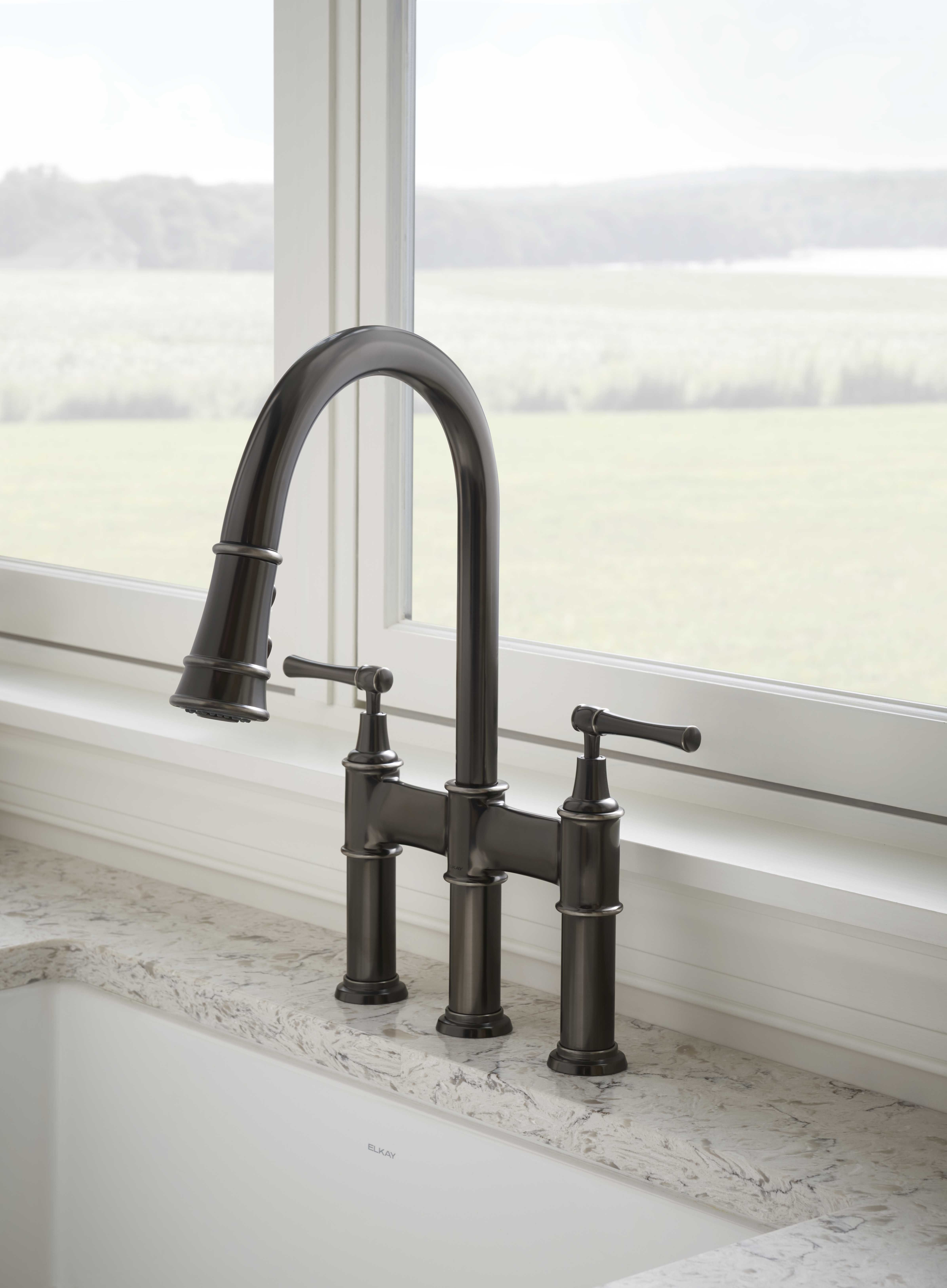 Elkay Explore Three Hole Bridge Faucet With Pull Down Spray And Lever Handles Antique Steel Elkay Faucet Antiqued Steel