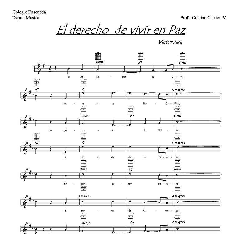 Elderechodevivirenpaz Partituras Hojas De Música Paz
