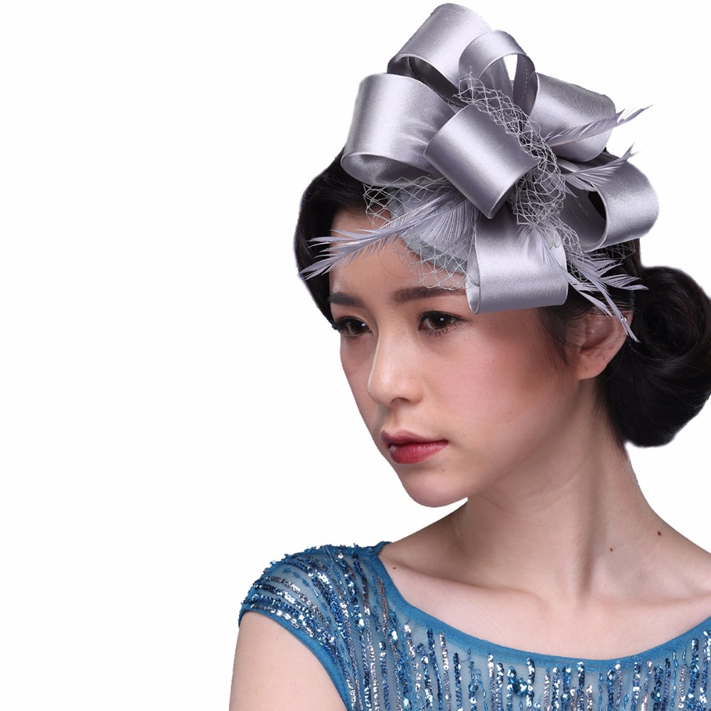 23.99$  Watch here - http://aliz4d.shopchina.info/1/go.php?t=32700749750 - 4Colors Ladies headwear vintage royal elegant fascinator hat flower feather fascinators hair accessories Bow Barrettes hairband  #aliexpress