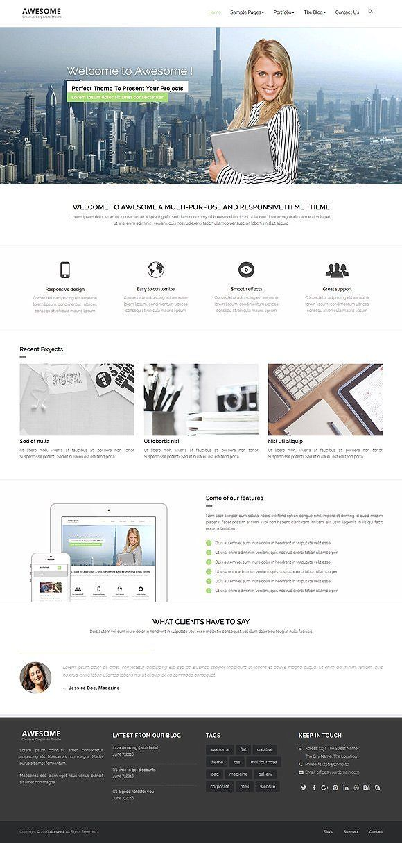 Best Awesome - Responsive HTML Template CreativeWork247 - Fonts, Graphics, ...