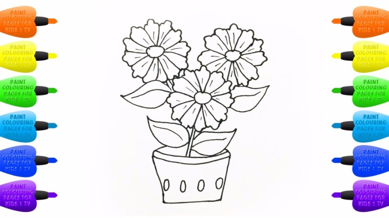 Coloring Book Colorful Flower How To Draw Plants Art Colours For Kids Coloring For Kids Plant Art Coloring Books