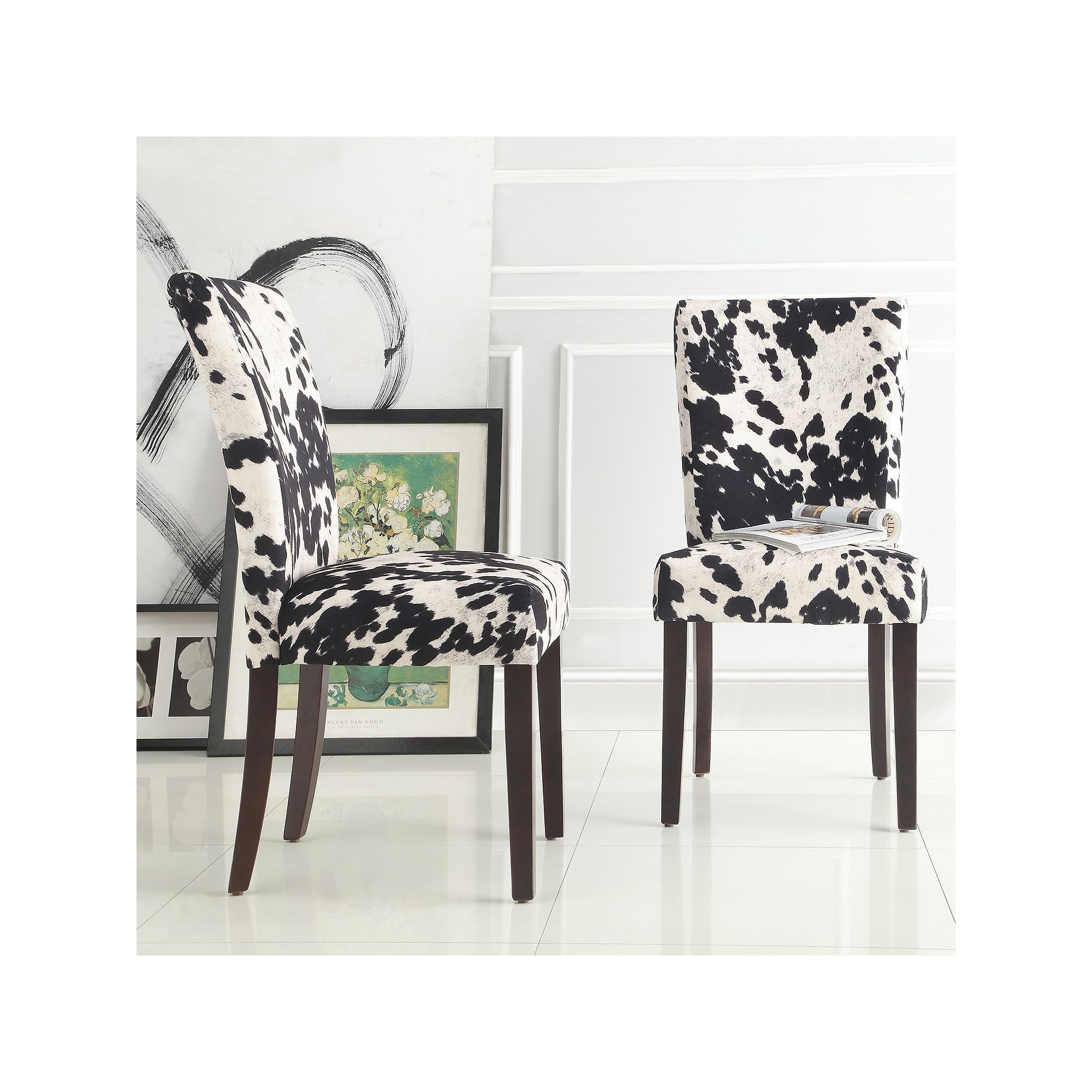 Homevance Denargo Printed Side Chair 2 Piece Set Black