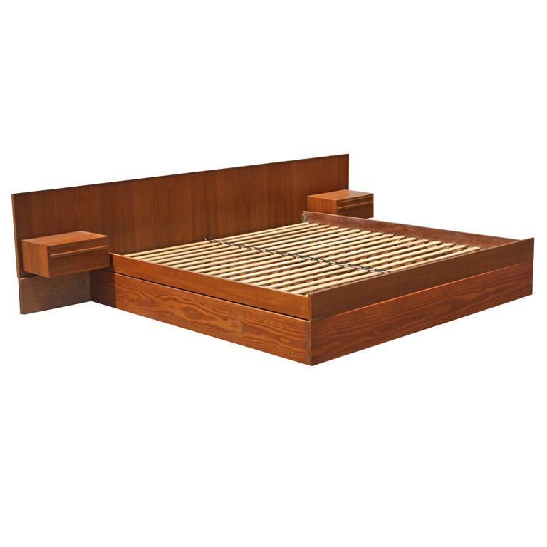 Danish Teak King Size Platform Bed With Nightstands From A