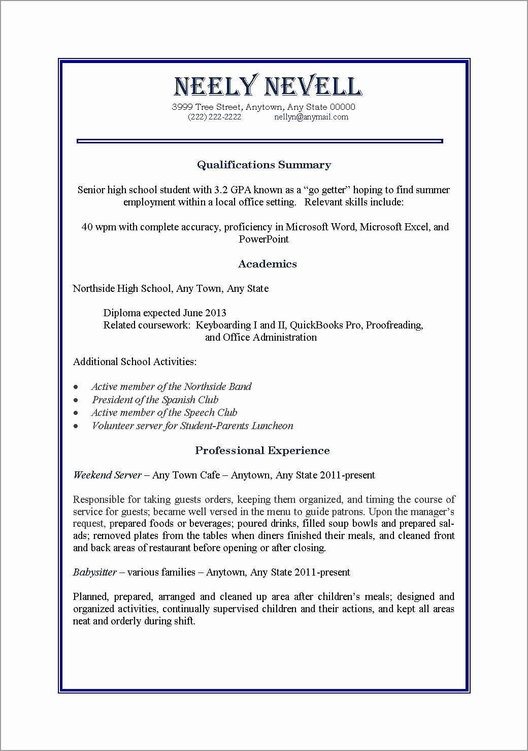 First Time Job Resume Lovely 10 Resume For First Job Out College First Job Resume Student Resume Template Job Resume Samples