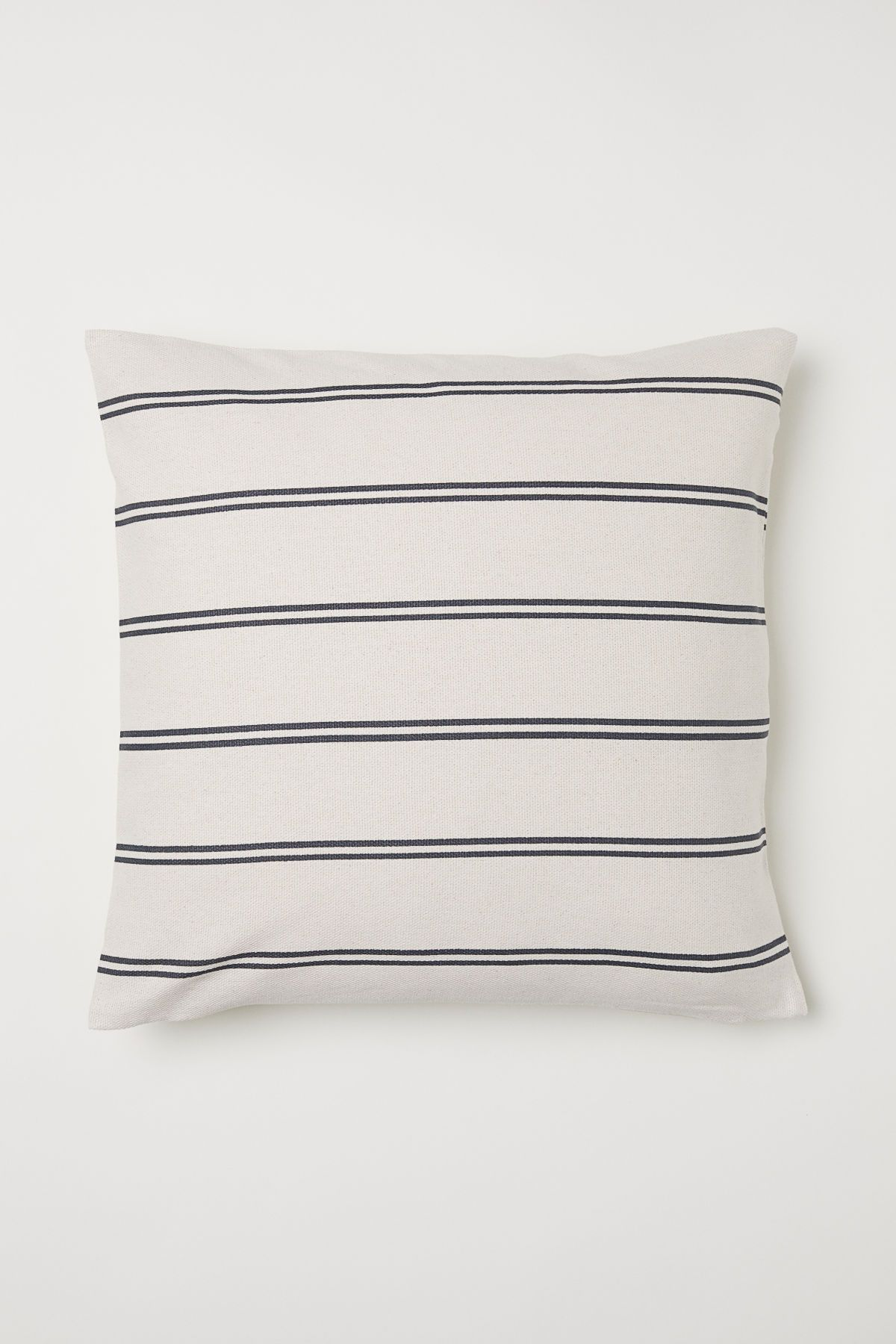 Natural Whitegray Striped Conscious Cushion Cover In Woven Organic Cotton