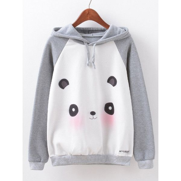 46f509c08e0 Women Cartoon Panda Printed Long Sleeve Cotton Hooded Sweatshirt ($19) ❤  liked on Polyvore featuring tops, hoodies, grey, comic book, gray top, ...