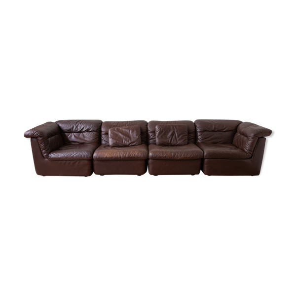 Photo of Modular brown leather sofa WK M'bel by Ernst Martin Dettinger