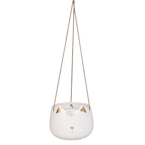cache pot suspendu chat en c ramique blanche h12 deco. Black Bedroom Furniture Sets. Home Design Ideas
