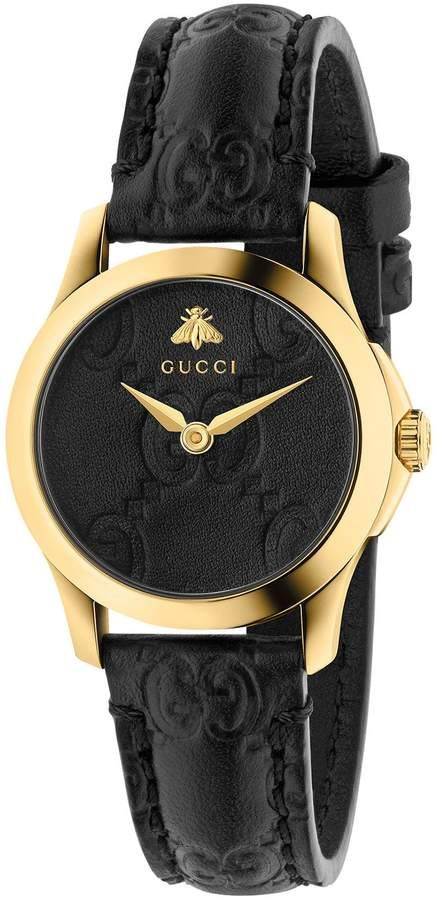 53df5137e9a Gucci G-Timeless Leather Strap Watch