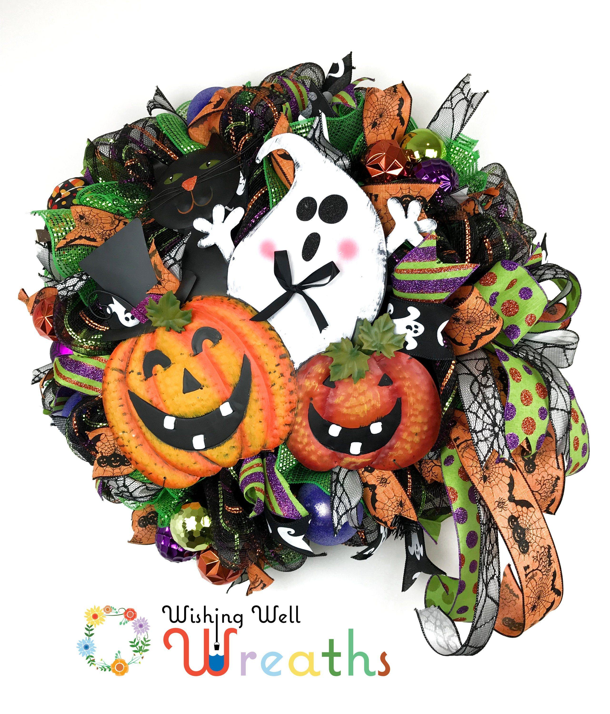 Mesh Halloween Wreath, Pumpkin Wreath, Ghost Wreath