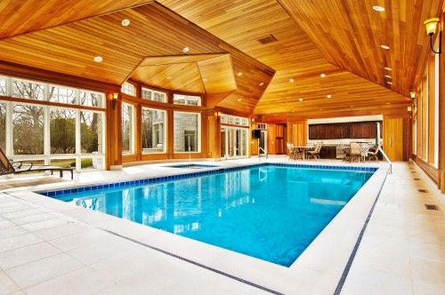 Beautiful wood ceiling over this enclosed swimming pool ...
